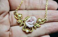 Vintage-1980's Gold Tone & Faux Pearl & Pink Flower Pendant/Necklace