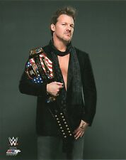 "CHRIS JERICHO WWE PHOTO WITH US TITLE ON SHOULDER WRESTLING OFFICIAL 8x10"" PROMO"