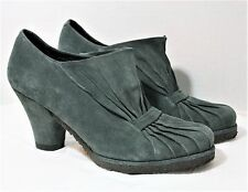AUDLEY LONDON SHOES RETRO RUCHED PUMP COMFORT GRAY SUEDE HEELS BOOTIES 8.5