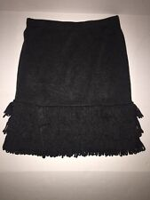 CALVIN KLEIN Women's Charcoal Gray A-Line Fringe Skirt STRETCH Size S