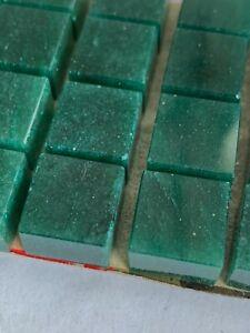 V194 - 20 Genuine Green Adventurine Stone Blocks  - 12x12x8mm  Vintage !!