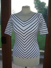 Jasper Conran navy & White Striped Stretch top ~ Size 8  a3