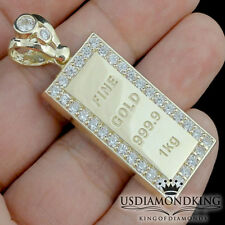 Solid 10K 100% Real Yellow Gold 999.9 Replica Gold Brick Bar Pendant Charm 6 Grm
