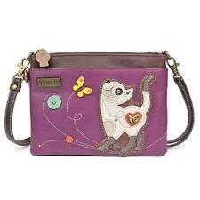 Designer Purple Faux Leather Chala Handbags Mini Crossbody Clutch Purse Bag-Cat