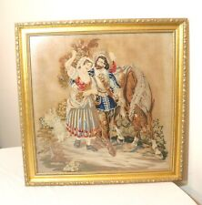 large antique 1800's Victorian hand embroidered figural horse needlepoint art