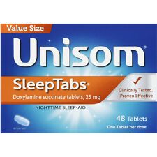 Unisom Sleep Tabs (doxylamine succinate 25mg) 48ct -Expiration Date 01-2019-