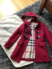 BURBERRY BRIT RED WOOL NOVA CHECK LINED HOODED DUFFLE COAT SIZE 2 US