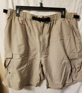 REI Mens Khaki Nylon Belted Outdoor Hiking Fishing Cargo Shorts Size 42 2XL