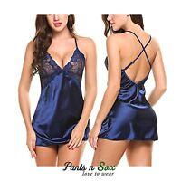 Womens Floral Silk Feel Sexy Nightie with underwear Sleepwear Nightdress AU