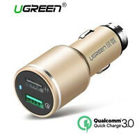 UGREEN USB Car Charger Quick Charge 3.0 Dual USB Smart Charger Fr Samsung Tablet