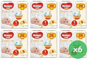 168 PANNOLINI NEW BORN HUGGIES EXTRA CARE 6 PACCHI DA 28 PZ NEONATO TG.1 (2-5Kg)