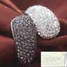 Stainless Steel 316L Engagement Ring Sparkling Swarovski Crystals Black Silver