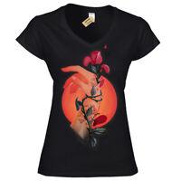 Eden's roses T-Shirt Womens Ladies V-Neck