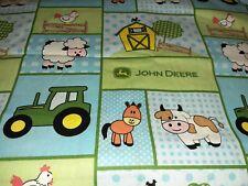 John Deere Tractor With Baby Animals Fabric Scrap Quilt Sew Craft