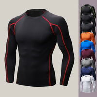 Men's Muscle Slim Fitness Shirts Athletic Elastic T-shirt Gym Sport Tops