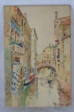 MM Cousin - Vue de Venise - Aquarelle sur carton Signée en bas à droite.