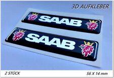 2x 3D AUFKLEBER -STICKERS- SAAB Logo / Aufkleber chrome effect