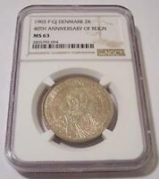 Denmark Silver 1903 2 Kroner Christian IX 40th Anniversary of Reign MS63 NGC