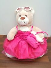 """Build A Bear 12"""" cream plush bear in pink evening gown, bag & glasses outfit VGC"""