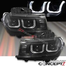 2014-2015 Chevy Camaro Projectors Headlights w. U-LED Bar Black Housing Pair