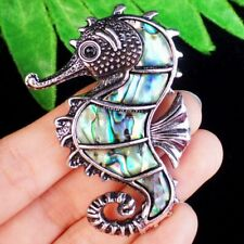 Wrapped Tibetan Silver New Zealand Abalone Shell Seahorse Brooch Pendant Bead
