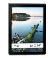 "Cavepop 24""X36"" Black Wood Poster Picture Frame with Plexi-Glass Front"
