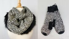 INC Winter Wear Gift Set, Faux Fur Knit Cowl Scarf & Mittens Beige Black #6355