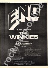 Brian Eno The Winkies Rod Crisp Kings Hall, Derby MM4 LP/Tour Advert 1974