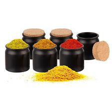 6er Set Keramik Gewürzgläser mit Korken-Deckel 150ml Vorratsdosen Salz Behälter
