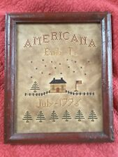 """Americana Sampler Primitive Style Hand Stitched~Created 1997-9 1/2"""" x  11 1/2"""""""