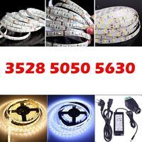 5M 3528 5050 5630 300 SMD LED Flexible Strip Light Lamp 12V Waterproof+ Adapter