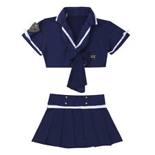 Women Girls Cosplay Police Uniform Lingerie Fancy Dress Outfit Costume Full Set