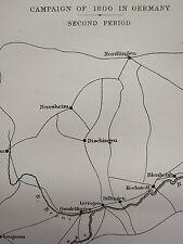 1872 GUERRA Mappa / battleplan ~ campagna del 1800 in Germania 2nd periodo ~ leipheim