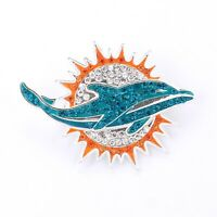MIAMI DOLPHINS, Pin, Brooch, Bling, SPARKLE & SHINE, NFL Football