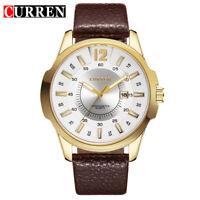 Curren Fashion Sport Analog Date  Wristwatches Men's Quartz Watch Leather Band