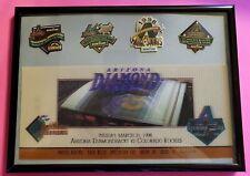 Framed Arizona Diamondbacks 1998 Holograph Opening Day Ticket + 4 1998 Pins