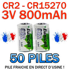LOT DE 50 PILE ACCU BATTERIE CR2 LITHIUM (CR15270) 3V 800mAh EUNICELL CR2 CR-2
