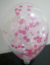 1 CLEAR QUALATEX 18INCH/45CM PINK CONFETTI BALLOON BABY GIRL EVENTS WEDDINGS
