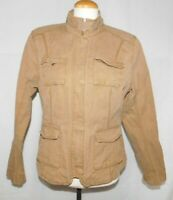 Eddie Bauer Safari style Canvas Cotton Spring Jacket Tan Pockets Women's sz L