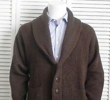 NEW Mens SIZE XXXL 3XL ALPACA Brown Shawl Collar Ribbed Cardigan Sweater