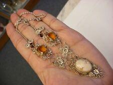 Antique Vtg Victorian Art Nouveau Shell Cameo Necklace