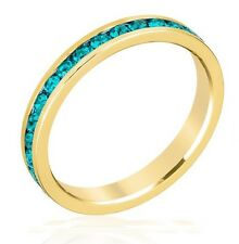 18k Gold Plated Birthstone Eternity Ring Stackable Made With Swarovski Stones