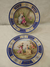 Vintage Pair Royal Vienna Porcelain Cabinet Decorative Plates Plate hand-painted