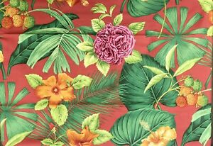 P Kaufmann Fabric Tropical, Palm Hibiscus, Floral Drapery   Red, Green   2.5 yds