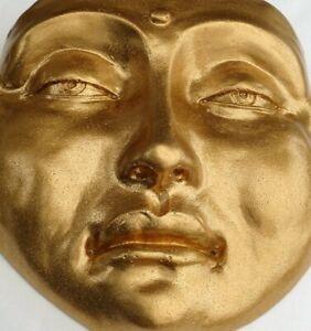 Handmade Golden Buddha Mask Sculpture, Garden, Gifts, by Claybraven