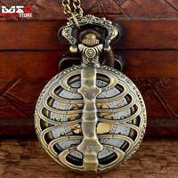 Antique Bronze Skeleton Vintage Pocket Watch Gold Dial Pendant Quartz Chain Gift