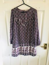 Purple & Blue Floral Next Long Sleeve Dress Age 14 Years 13/14 14/15 (2678)