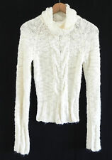 Women's Guess Jeans Long Sleeve Knit Sweater . Ivory Tone . Size S/P Turtleneck
