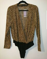 Leopard Print Woven Wrap Bodysuit. Boohoo Size Uk 16. Brand New With Tags