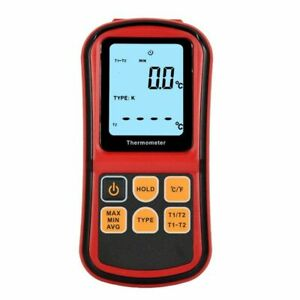 LCD Digital 2 Channel Thermometer & K-type Thermocouple Temperature Tester Meter